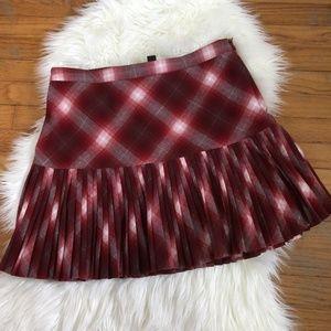 Club Monaco Red Plaid Tartan Pleated Skirt
